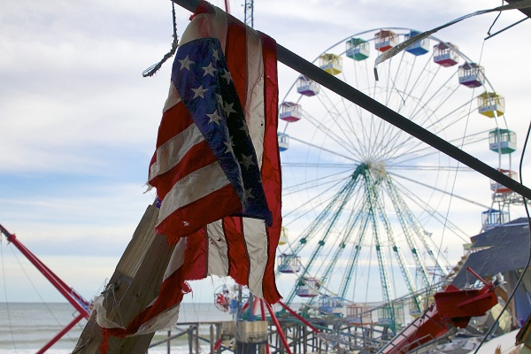 """<p>Tattered and battered, Seaside Heights """"has a future, there's no doubt about it,"""" said Councilman Anthony Vaz.  ( Jana Shea /for NewsWorks )</p>"""