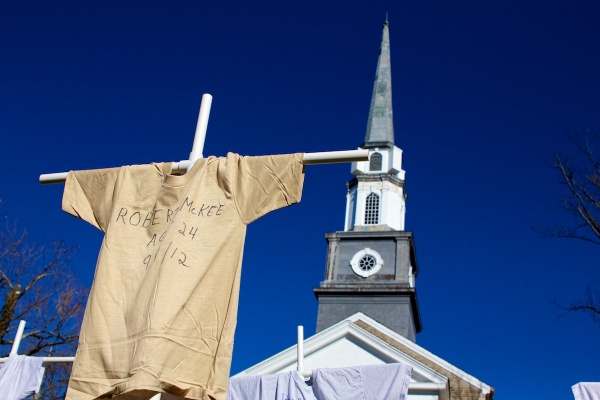 <p>Heeding God's Call hopes the traveling display will challenge Mayor Nutter to do more to curb gun violence.( Jana Shea /for NewsWorks )</p>