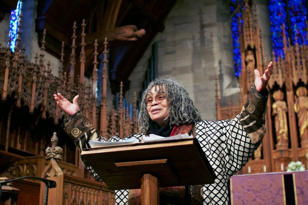 <p><p>Philadelphia's first Poet Laureate, Sonia Sanchez, read poems and shared stories at St. Paul's Episcopal Church in Chestnut Hill on Sunday. (Jana Shea/for NewsWorks)</p></p>