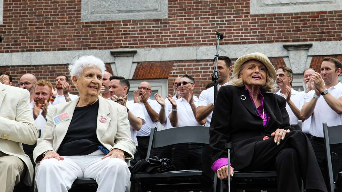 Gay Pioneers Ada Bello (left) and Edie Windsor attend Philadelphia's 4th of July celebration of the 50th anniversary of the LGBT civil rights movement. (Kimberly Paynter/WHYY)