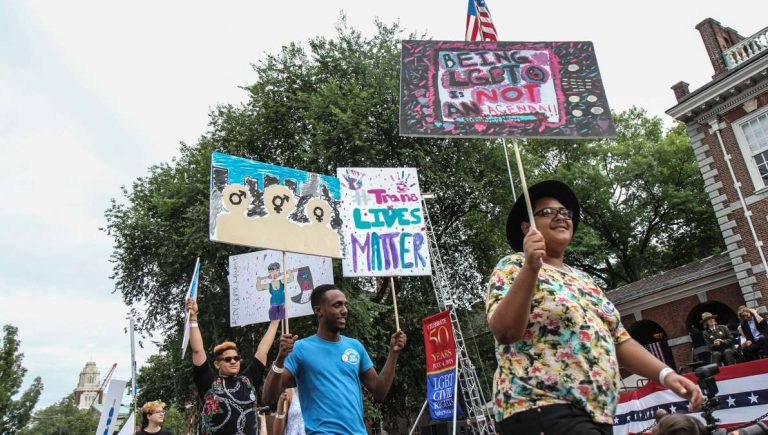 LGBT youth picket for rights and understanding at Philadelphia's July 4 celebration of the 50th anniversary of the gay rights movement. (Kimberly Paynter/WHYY)