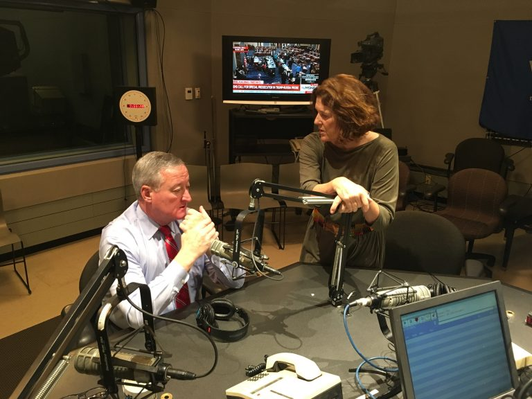 Mayor Kenney and Marty Moss-Coane speak in the studio during Radio Times on Wednesday (Trenae Nuri, WHYY)