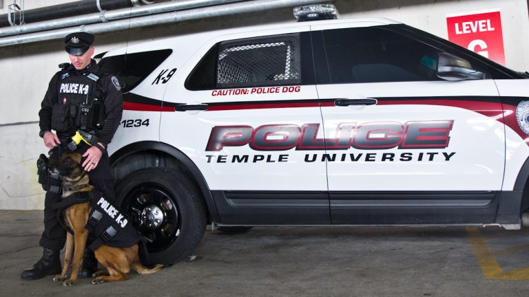 Temple University K9 Officer Doug Hotchkiss says police dog Baron has many roles on Temple's campus. (Kimberly Paynter/WHYY)