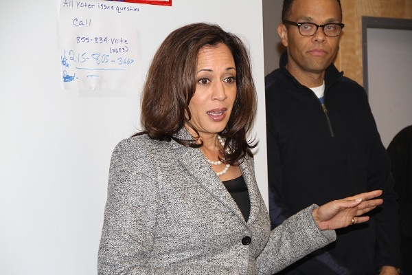 <p><p>California Attorney General Kamala Harris speaks to phone bank volunteers at the Obama campaign office in Germantown. (Trenae V.McDuffie/for NewsWorks)</p></p>