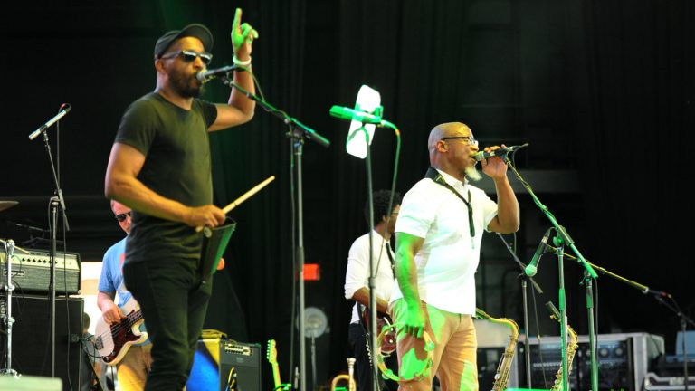Karl Denson (right) performs at the Merryland Music Festival, July 9, 2016 at the Merriweather Post Pavilion, Columbia, Maryland.  Photo courtesy of Julia Lofstrand Photography.