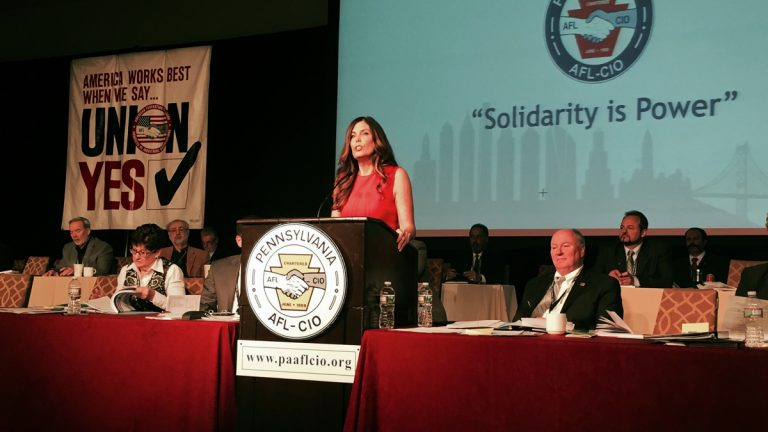 Pennsylvania Attorney General Kathleen Kane speaks at the AFL-CIO convention in Philadelphia. (Bobby Allyn/WHYY)