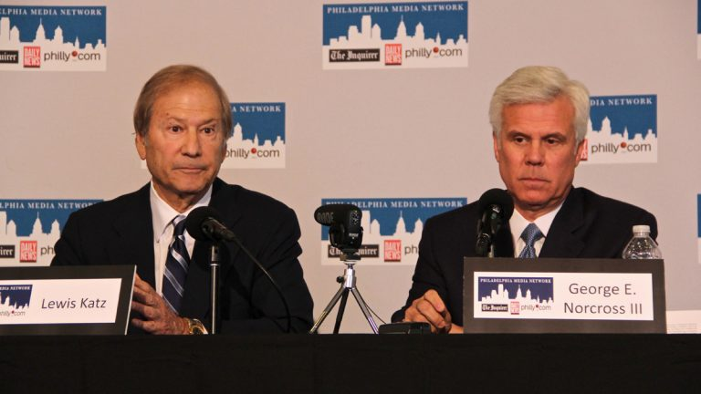 Lewis Katz and George Norcross are shown in 2012 announcing their purchase of the Philadelphia Inquirer and Daily News and philly.com. (Emma Lee/for NewsWorks, file)