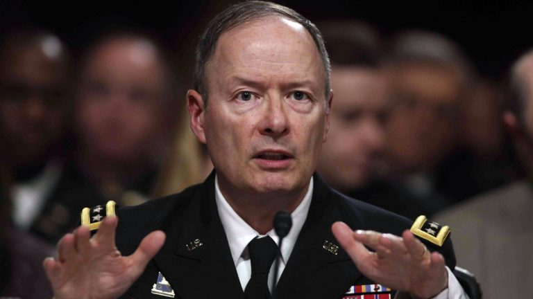 Gen. Keith Alexander, director of the National Security Agency, testifies Wednesday before the Senate Appropriations Committee hearing to examine cybersecurity. (AP Photo/Charles Dharapak)