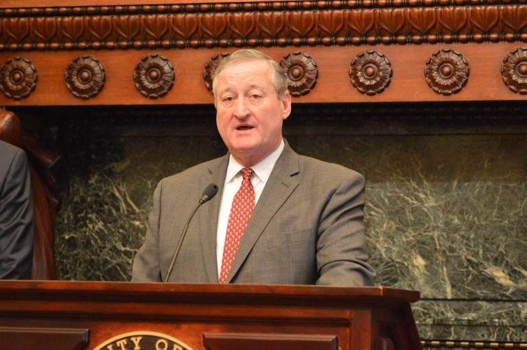 Philadelphia Mayor Jim Kenney talks about an incentive program for drawing suburban companies to the city. (Tom MacDonald/WHYY)
