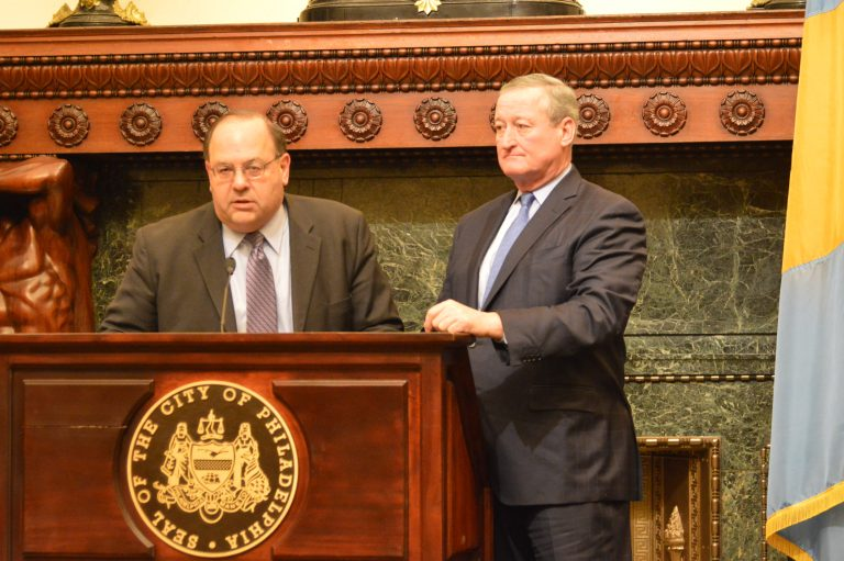 Philadelphia Councilman Allan Domb (left) and Mayor Jim Kenney talk about the city's tax-abatement program. (Tom MacDonald/WHYY)