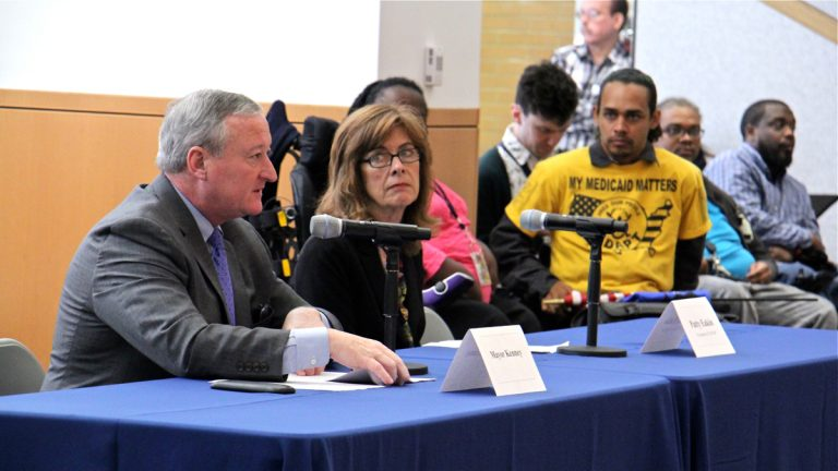 Philadelphia Mayor Jim Kenney (left) and Patty Eakin, president of the Pennsylvania Association of Staff Nurses and Allied Professionals, testify during a hearing on the impact of the Republican sponsored health care plan. (Emma Lee/WHYY)