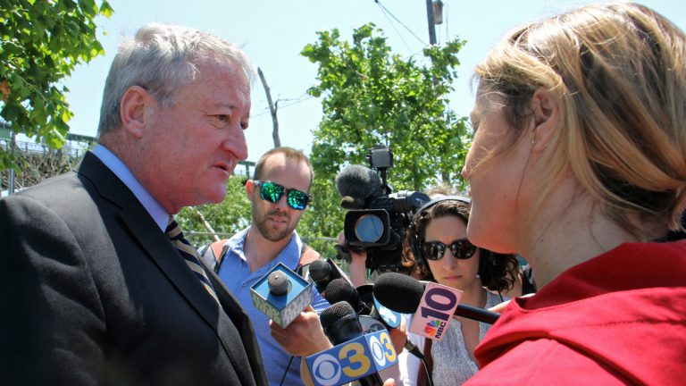 Philadelphia Mayor Jim Kenney talks to reporters about details of the new tax on soda and sugary drinks. (Emma Lee/WHYY)