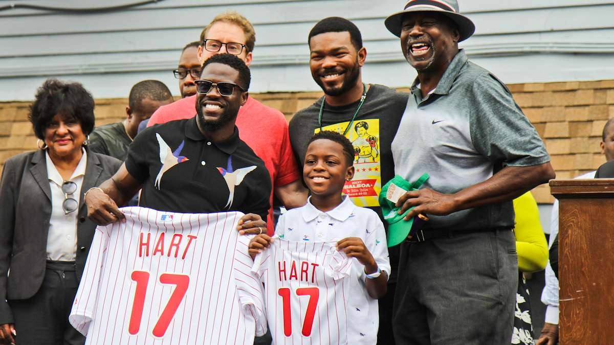 The Philadelphia Phillies present Kevin Hart with a jersey.