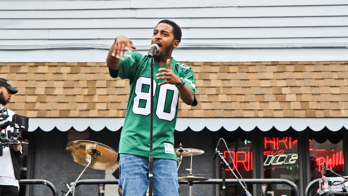 Chill Moody performs at the Kevin Hart Day celebration in North Philadelphia.