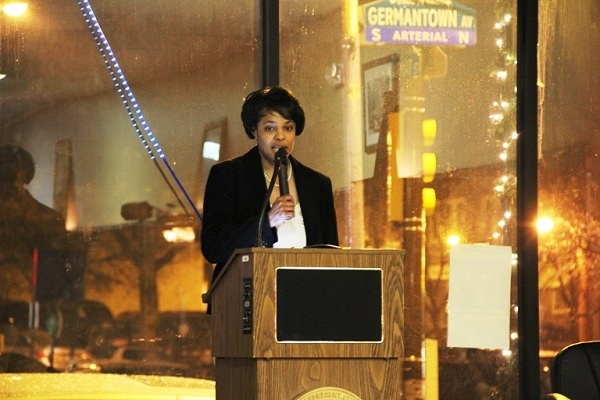 <p><p>Pam Rich-Wheeler speaks about the Germantown business district. (Trenae V.McDuffie/for NewsWorks)</p></p>