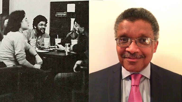 Kip Davis pictured in the 1974 Halcyon, Swarthmore College's yearbook  (left) and today(Swarthmore College yearbook, photo provided)