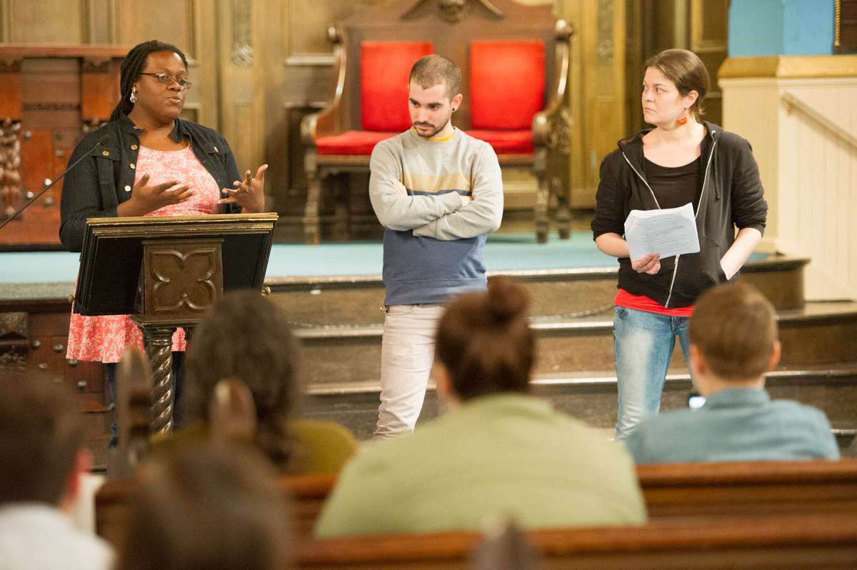 Members of Up Against The Law Legal Collective explain policing practices and protesters' rights during a protest workshop held at the First Unitarian Church of Philadelphia.