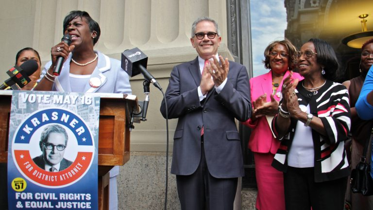 Philadelphia district attorney candidate Larry Krasner gets the endorsements of some high-powered women of color, including (from left) Councilwoman Maria Quiñones-Sánchez, Councilwoman Cherelle Parker, Krasner, state Rep. Isabella Fitzgerald, and former city Councilwoman Marian Tasco. (Emma Lee/WHYY)(