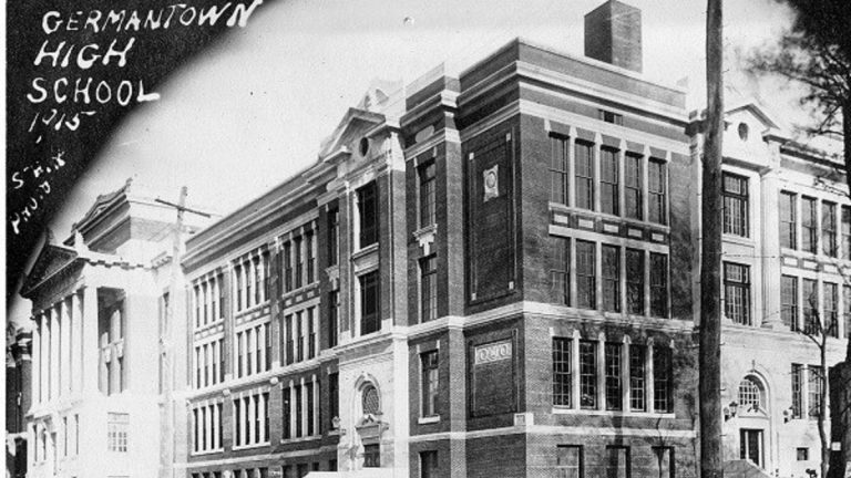 A 1915 postcard image of Germantown High School. (Courtesy of Germantown Historical Society)