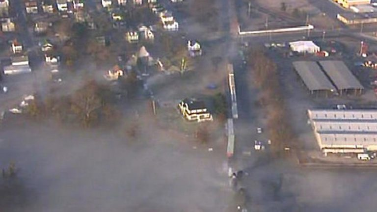 Vinyl chloride gas covers Paulsboro, NJ after a train derailment on Nov 30, 2012. (Photo courtesy of NBC10)