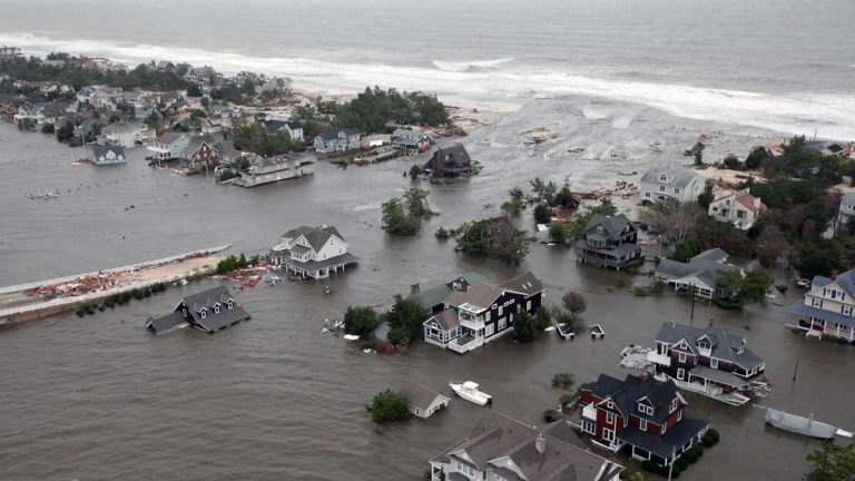 In 2012, Superstorm Sandy  flooded the New Jersey shoreline. (AP Photo/U.S. Air Force, Master Sgt. Mark C. Olsen, File)