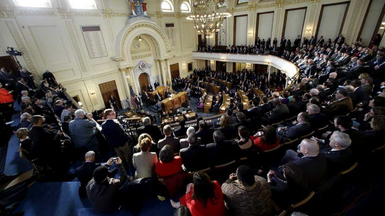 Governor Christie will give his budget address to a joint-session of the Legislature. (AP Photo/Mel Evans)