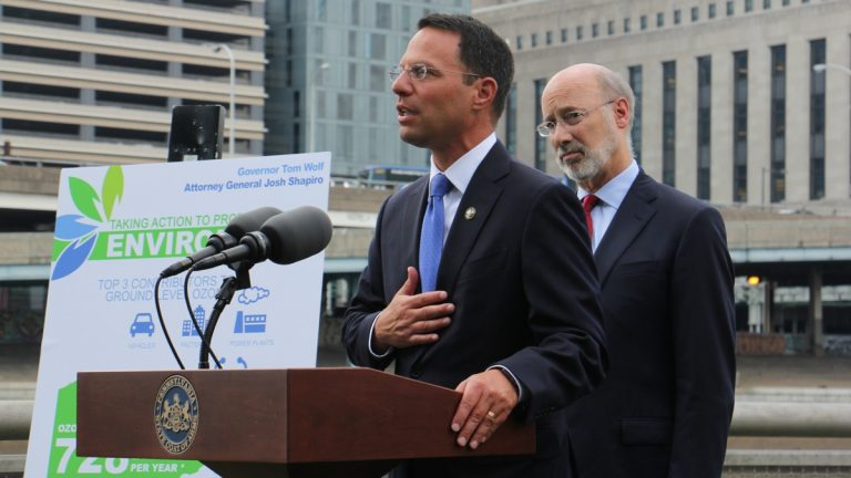 Pennsylvania Attorney General Josh Shapiro and Gov. Tom Wolf announce that the state has joined a lawsuit against the Environmental Protection Agency, which has delayed implementing rules to reduce smog. (Emma Lee/WHYY)