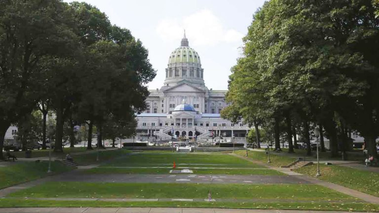 Shown is the Pennsylvania Capitol building Wednesday, Oct. 7, 2015, Harrisburg, Pa. (AP Photo/Matt Rourke)