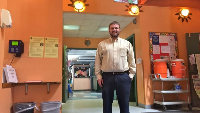Caring Center executive director Justin Bell says the center has educated private-pay students, Head Start students, and Pre-K Counts students in common classrooms. (Avi Wolfman-Arent/WHYY)