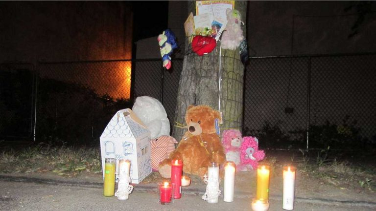 A scene from an October vigil in memory of hit-and-run victim Ceeanna Pate. The driver's preliminary hearing will be held Wednesday. (Brian Hickey/WHYY)