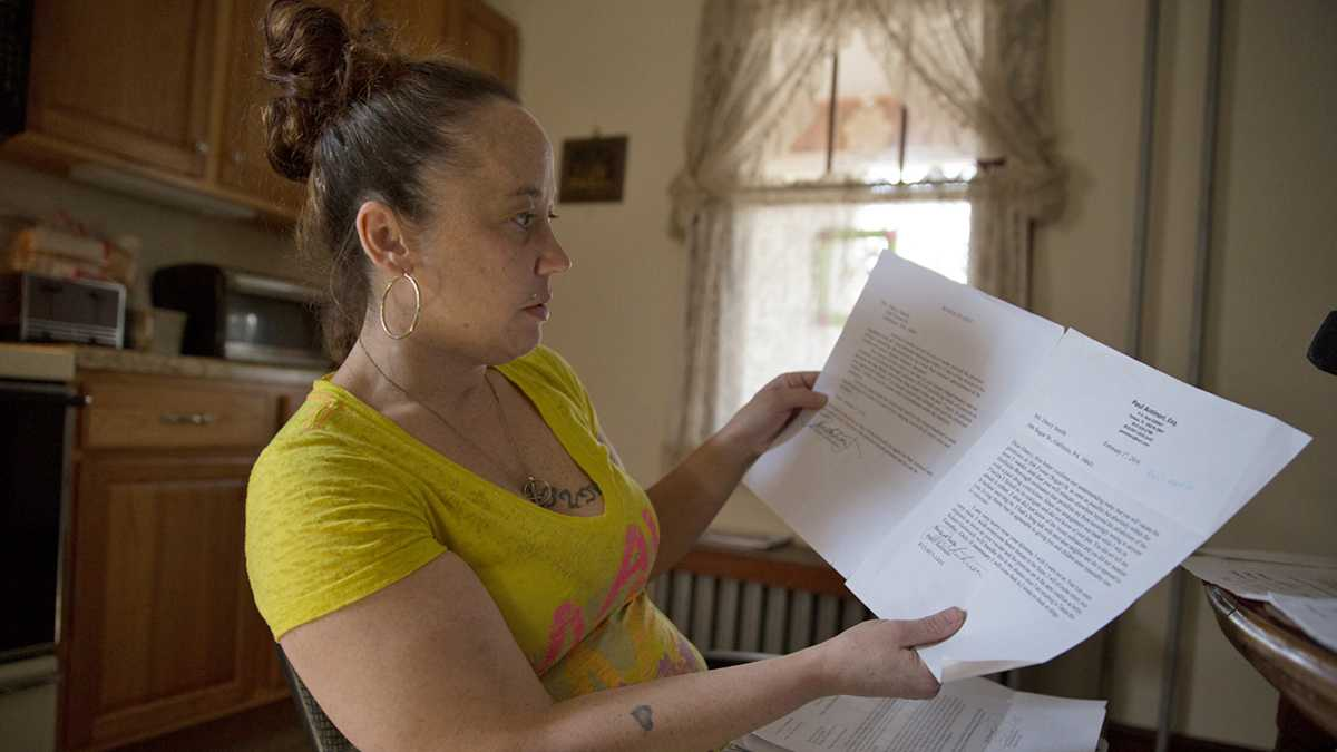 Darcy Smith, who was convicted on felony drug charges and served time in prison, was recently sent an eviction notice from her landlord because of a local ordinance. Smith is fighting the ordinance in Cambria County court. (Lindsay Lazarski/WHYY)