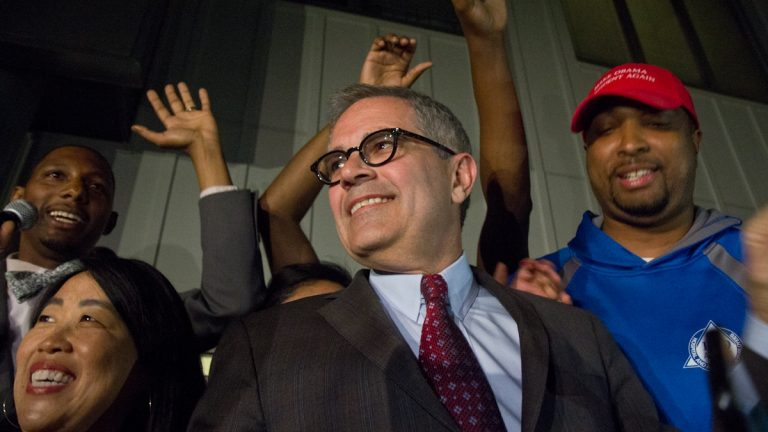 Democratic primary winner Larry Krasner takes the stage at his campaign party on election night.Many millennials backed his campaign.(Kimberly Paynter/WHYY)