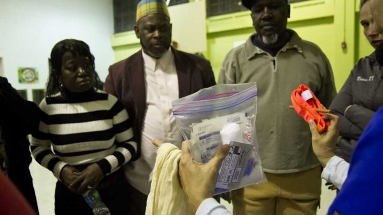 A North Philadelphia program, Fighting Chance, provides community members with the tools and first aid training to help victims after a shooting. (Kimberly Paynter/WHYY)