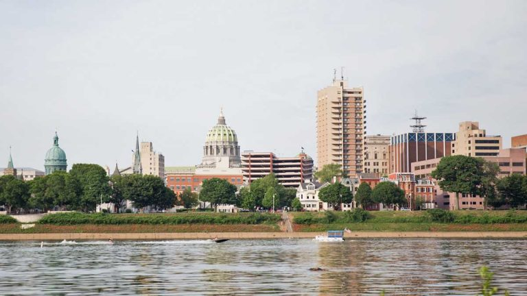 A view of Harrisburg and the state capitol from City Island. (Lindsay Lazarski/WHYY)