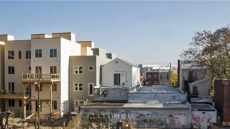 New homes under construction in Philadelphia. (Jessica Kourkounis for WHYY)