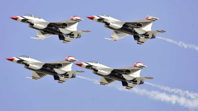 The U.S. Air Force Thunderbirds will perform over Atlantic City at the 2016 air show. (AP Photo/Alex Brandon)