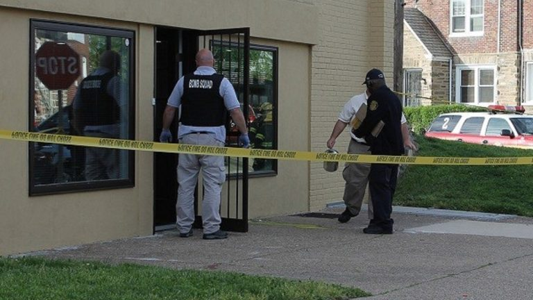 While initial reports of a bomb proved unfounded, police reported that a substance found outside a Northwest Philadelphia politician's office was still dangerous. (Matthew Grady/for NewsWorks)