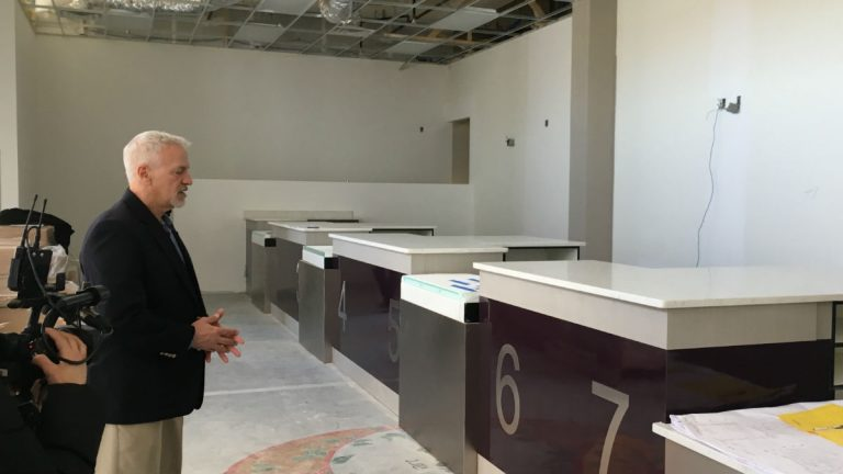FSCC president Mark Lally gives a tour of the Lewes dispensary in March. (Mark Eichmann/WHYY)