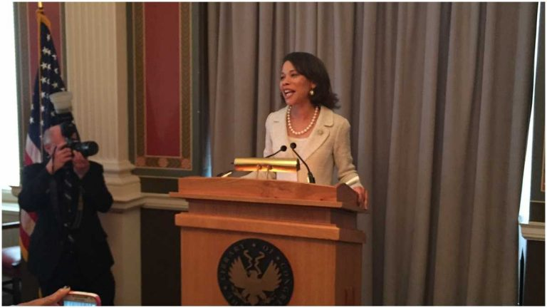 Delaware's first African American Congresswoman, Rep. Lisa Blunt-Rochester speaks to supporters at a reception at the U.S. Capitol in January. (File/WHYY)