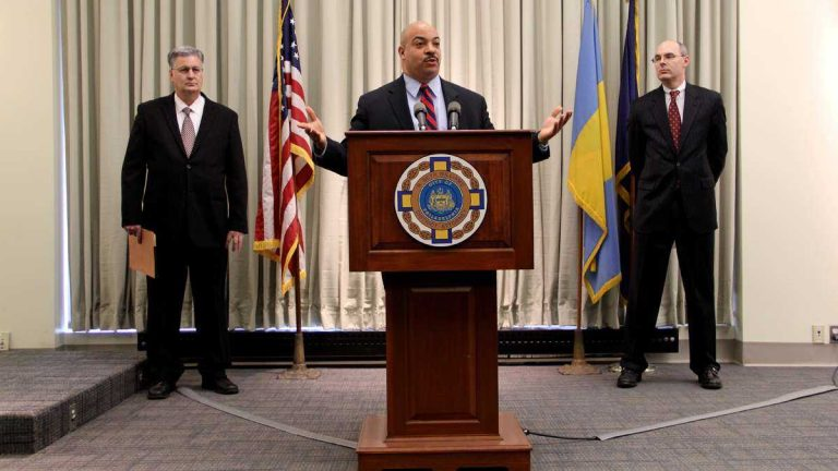 Philadelphia District Attorney Seth Williams is shown announcing the indictment of Pa. Rep. Jose Miranda and his sister Michelle Wilson. (Emma Lee/for NewsWorks)