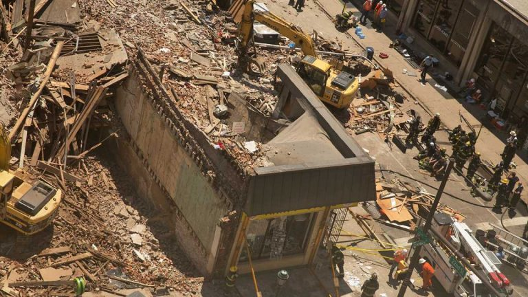 The wreckage at 22nd and Market streets in Philadelphia following the June 5, 2013, collapse. (Lindsay Lazarski/WHYY)