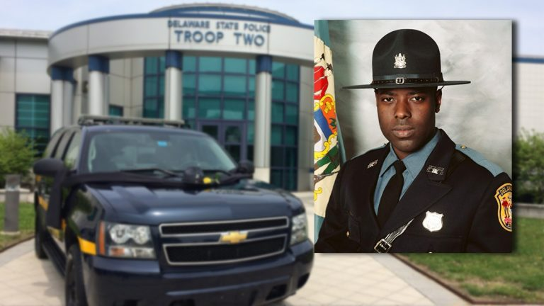 Cpl. Stephen Ballard was killed outside a Wawa store in Bear Wednesday afternoon. (inset photo courtesy  Del. State Police; Troop Two photo: Shirley Min/WHYY)