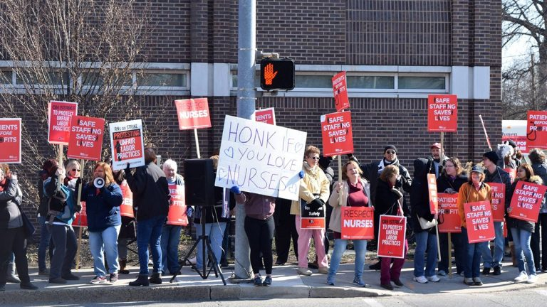 This file photo shows the picket line of nurses, staff, and supporters during a two-day action back in March at the Delaware County Memorial Hospital (PASNAP)