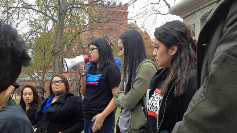 Daisy Romero, center, holding the megaphone, is an undocumented immigrant from Mexico who will graduate from the University of Pennsylvania next year. (Photo courtesy of Daisy Romero)