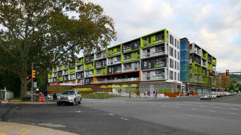 Ridge Flats, located at the site of the former Rivage Ballroom in East Falls, will consist of 146 apartment units and 9,300 square feet of retail space. (Photo courtesy of Onion Flats)