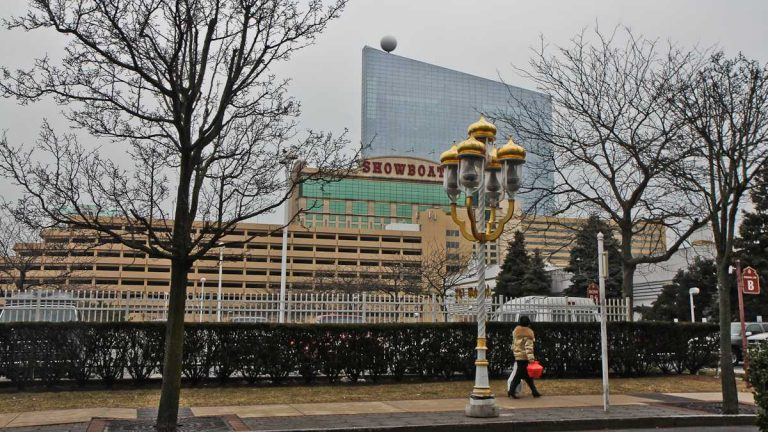 The former Revel casino building rises behind the Showboat which closed in August of 2014. (Kimberly Paynter/WHYY, file)
