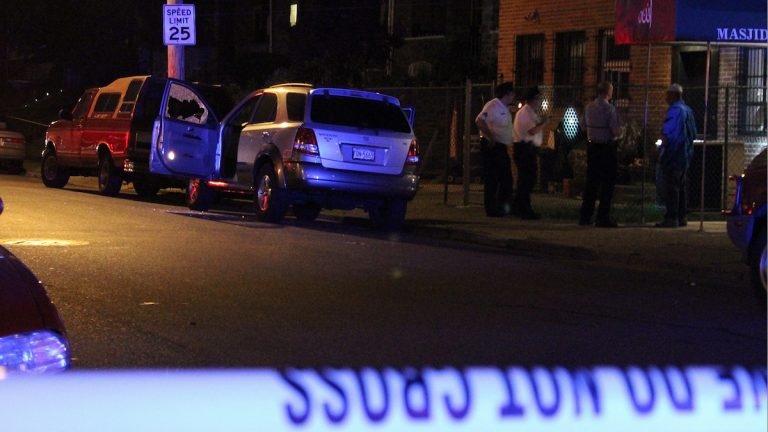 A man was shot inside this vehicle in West Oak Lane on Sunday night. (Matthew Grady/for NewsWorks)