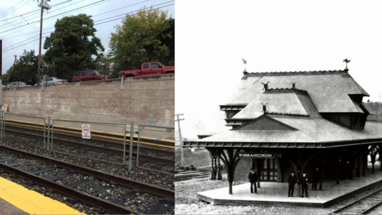 A mural has been proposed for the Wissahickon Station. Shown on the right is where the mural would be and shown on the left is the station when it was first built. (Images courtesy of Sara Sequin)