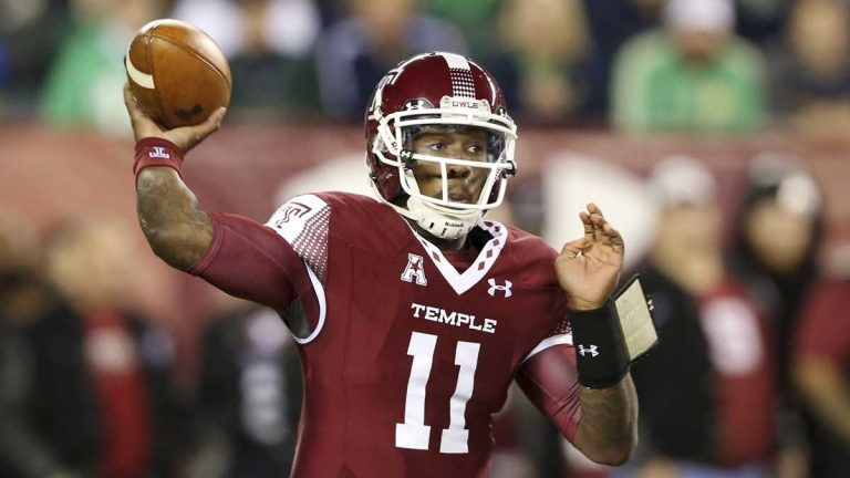 Temple quarterback P.J. Walker (11) throws a pass during an NCAA college football game against Notre Dame Saturday, Oct. 31, 2015, in Philadelphia. (AP Photo/Mel Evans)