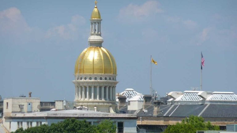 The gold-plated dome of the New Jersey Capitol building. (Alan Tu/WHYY)